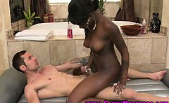 Ebony masseuse babe spoils client very sensually