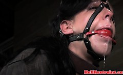 Mouth gagged skank being restrained