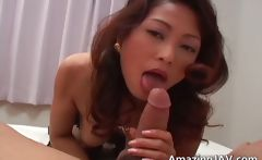 Busty japanese girl in lingerie sucking