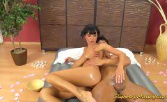 Slippery massage hard oral sex