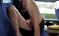 Girlfriend masturbates on a crowded