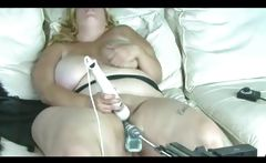 Plumper Blonde Gets Fucked By A Machine As She Vibes Her Pussy
