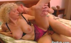 Busty blond mature gets her pussy ed