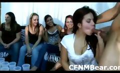 Ordinary amateur girls suck CFNM stripper cock
