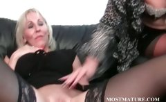 Lesbo mature couple teasing hot pussy