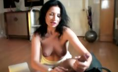 Mature polishing up horny males dick in the living room