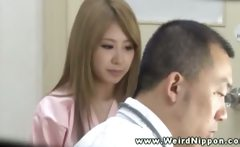Horny asian patient gets her tits out for the doctor