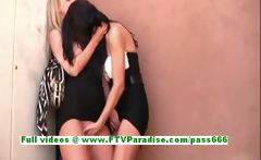 Kirsten and Natalie gorgeous lesbians kissing and licking in a public place