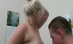 Horny mature blonde slut bends over gets