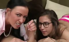 Mama teaches daughter how to suck dick