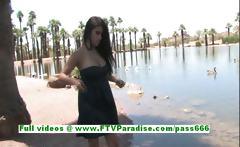 Alexa Loren busty brunette woman flashing tits and ass