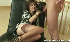 Busty mature euro tugging dick for this very lucky guy