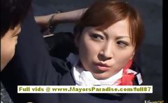 Chihiro Hara Naughty Asian moidel is tied up in jail and