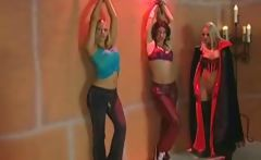 Hot blonde lesbian she-devil tortures her slutty prisoners 