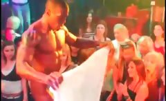 Orgy babe gets her cunt finger fucked by stripper
