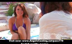 Hot amateur lesbian girls giving a tender massage near pool