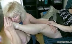Horny granny with big tits loves having