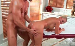 Blonde hottie pussy smashed from behind by hot masseur