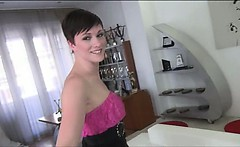 Short haired Mindy big cock POV fuck